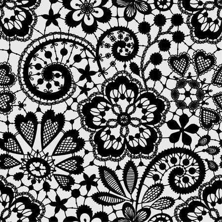 Encaje Negro Modelo inconsútil Foto de archivo - 39564391