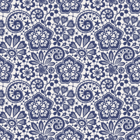 Lace Seamless Pattern. Blue backgrounds. Vector