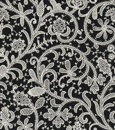 Lace Black Background. Seamless Pattern.
