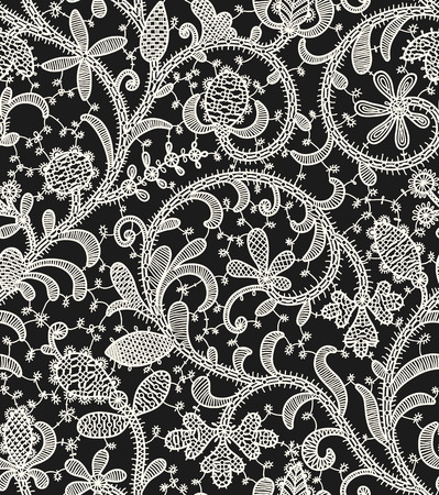 Lace Black Background. Seamless Pattern.