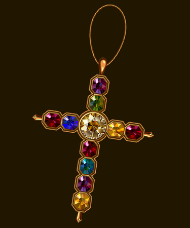 jewerly: Multicolor Jewerly Cross Vector Clip Art