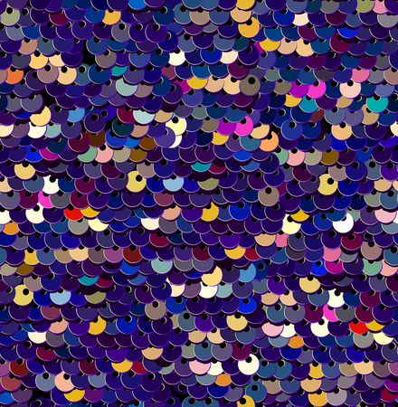 Sequins  Seamless Pattern. Vector. Without gradient. Multicolor Purple Background. Embroidery.