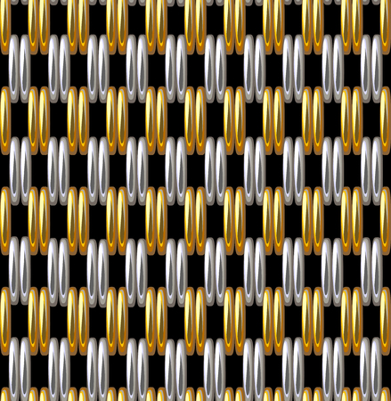Seamless pattern imitation gold silver grid metallic illustration.
