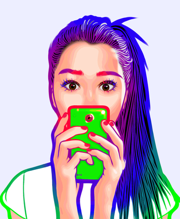 Girl Vector Art Selfie