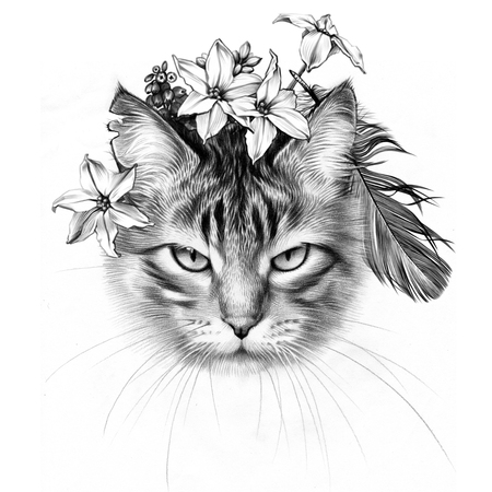 Cute March Cat. Pencil Drawing. Spring Flowers.