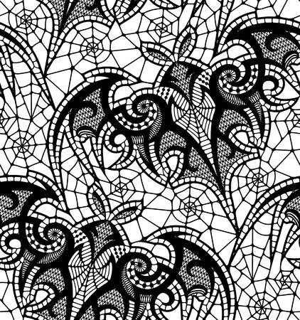 Bat Seamless pattern. Black Lace vector pattern.