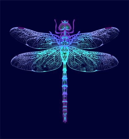 Dragonfly on Dark blue background Stock Illustratie