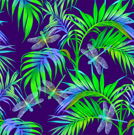Dragonfly and palms. Vector Seamless Pattern. Dark blue backgrounds. Summer night.