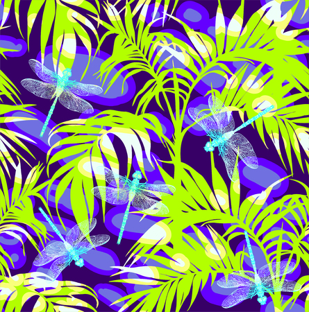 Dragonfly and leaves. Seamless Pattern. Dark blue backgrounds. Summer river.