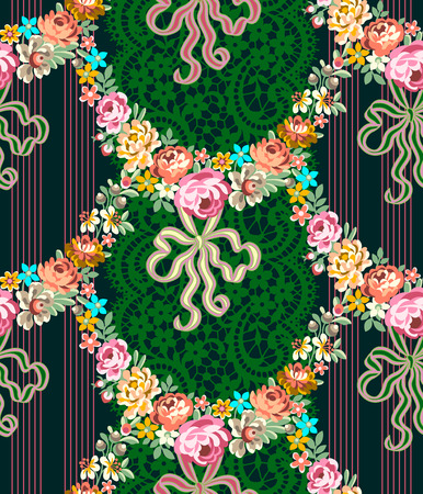 Roses Garland Lace Multicolor Seamless Pattern Vettoriali