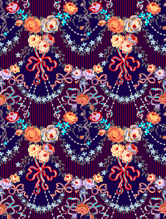 Romantic Roses Bow Floral  Seamless Pattern Dark Blue  Background