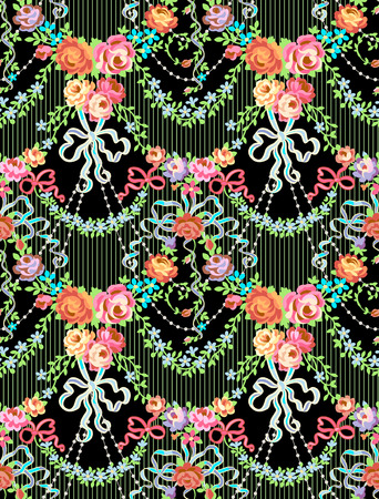 Romantic Roses Bow Floral Vector Seamless Pattern Black Background