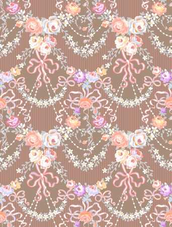 Romantic Roses Garland   Multicolor  Bow Seamless Pattern Vettoriali