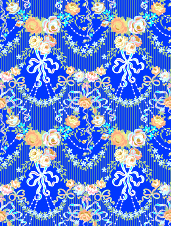 Romantic Roses Bow Floral  Seamless Pattern Blue Background