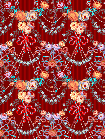 Romantic Roses Bow Floral Seamless Pattern Background