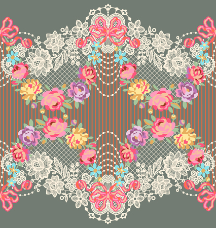 Lace Ribbon Romantic Floral Horizontal Vector Seamless Pattern
