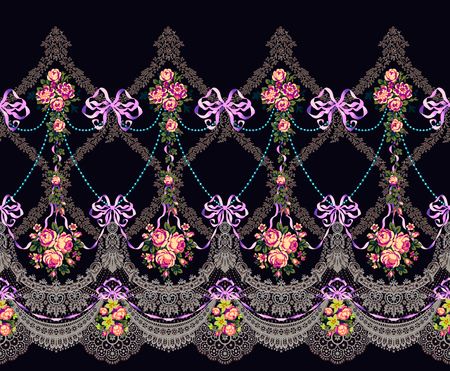 Fabric Pattern Horizontal Border Lace  Beads Flowers Garland Rococo Archivio Fotografico