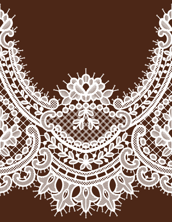White Lace Vector Seamless Pattern. Horizontal Ribbon. Vettoriali