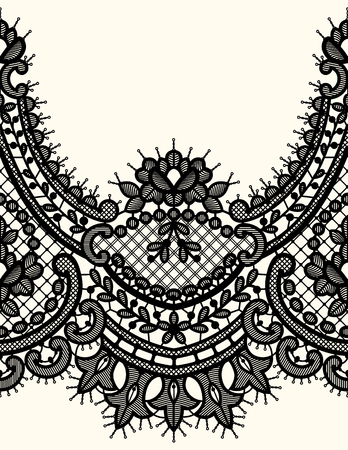 Black Lace Vector Seamless Pattern. Horizontal Ribbon.