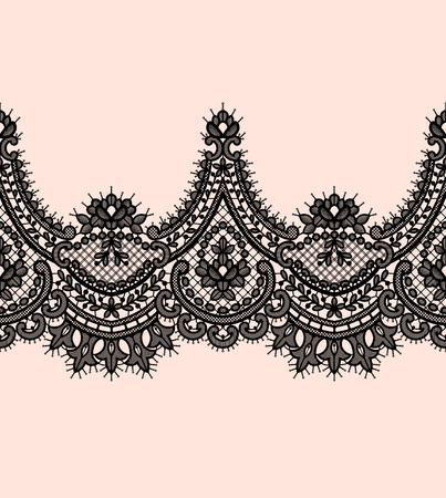 Black Lace Vector Seamless Pattern. Romantic Background.