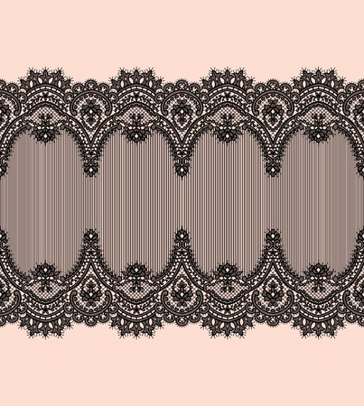 Black Lace Vector Pattern. Horizontal Ribbon. Symmetry Border.