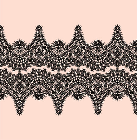 Black Lace Vector Pattern. Horizontal Ribbon. Vettoriali