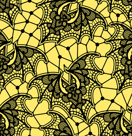 Bat. Seamless pattern. Lace  vector pattern. Yellow background.