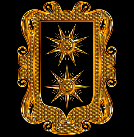 Medieval Goldwork Embroidery Vector Rectangle Frame. Sun Shape Black Background.