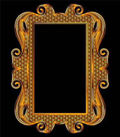 Medieval Goldwork Embroidery Vector Rectangle Frame. Black Background.