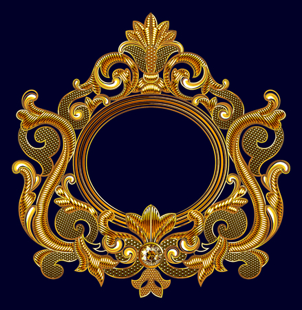 Medieval Goldwork Embroidery Vector Oval  Frame. Black Background.