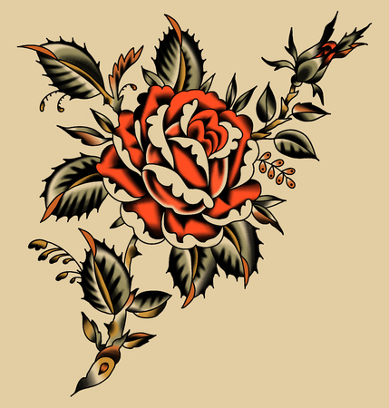 Red Rose Tattoo Stile. Beige Background.