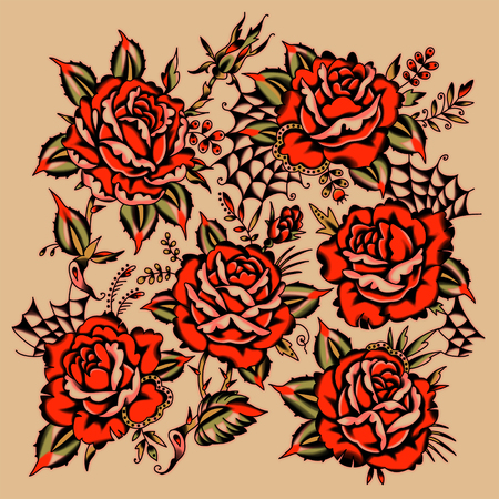 Red Roses Tattoo Style. Beige Background Archivio Fotografico