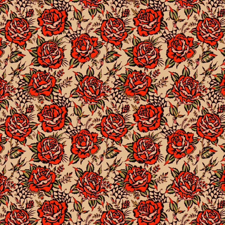 Red Roses Pattern Tattoo Style. Beige Background