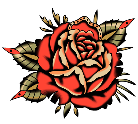 Vector Red Rose Tattoo Style. Vhite Background.