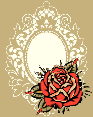 Tattoo Style Red Rose Beige Lace Frame Illustration