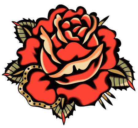 Vector Red Rose Tattoo Style Clip Art