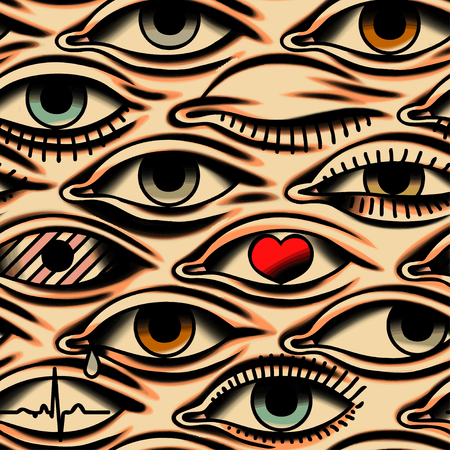 Eyes. Tattoo style. Health Pattern.  Beige Background. Seamless Pattern. Vettoriali