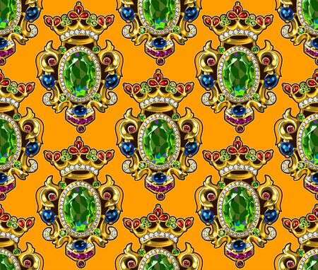 Broche Crown Seamless Pattern Dark Backgrounds Gemstones Emerald Ruby Ilustração