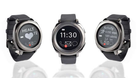 Three Smart Watches with Blank Display, isolated on white background
