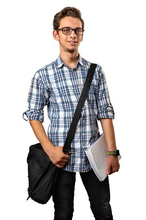 Handsome Student With Backpack And University Books