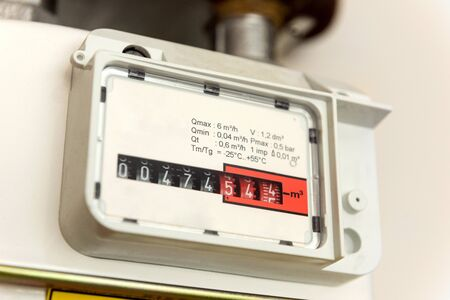 Cloese-up gas meter with numbers