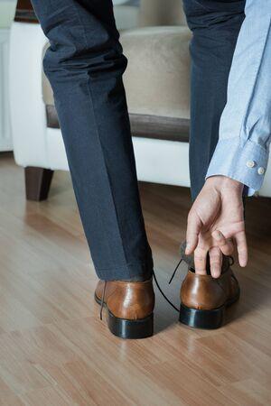 Man wearing shoes rear view