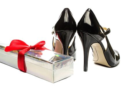 Rose box and Black strappy shoes 写真素材