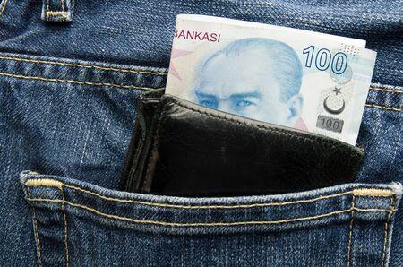Wallet pocket with turkish lira Stok Fotoğraf - 142774298
