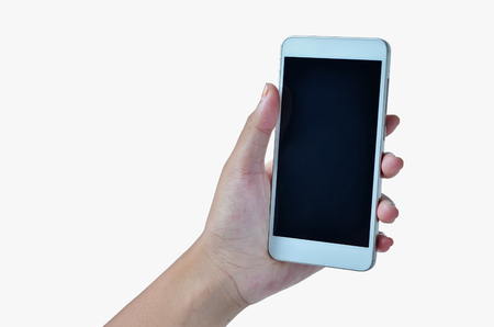 famale hands holding the phone isolated in white background