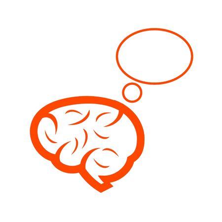 illustration of an thinking brain orange