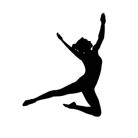 silhouette of people who jump and dance ballet Vettoriali