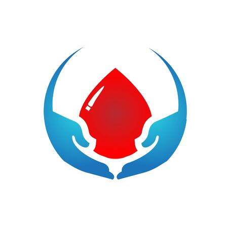 two blue hands holding blood droplets, concern for blood donation