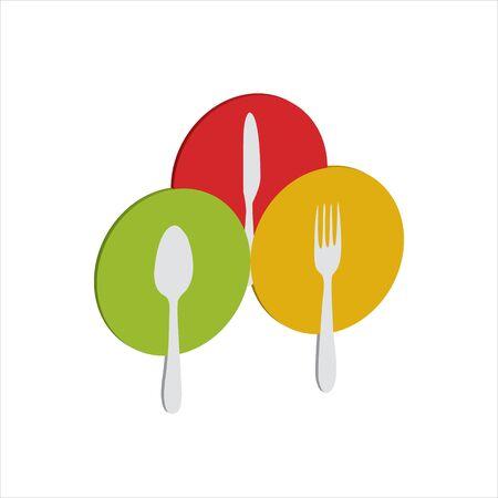 cucharas, tenedores, cuchillos para comer en platos coloridos