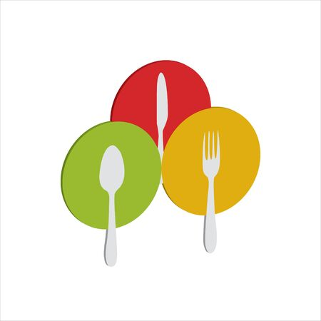 spoons, forks, eating knives on colorful plates